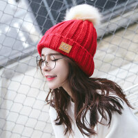 毛线帽子女秋冬天韩版潮甜美可爱网红同款冷帽骑车防风保暖针织帽新品 均码(请留言赠送颜色)