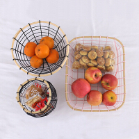 创意简约果篓ins果盘摆件北欧铁艺零食盘茶几装饰糖果盘沥水果篮