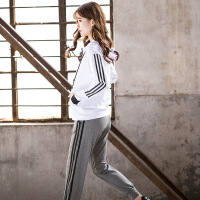 2018秋冬新款大码瑜伽服三件套户外跑步运动反光时尚健身服女套装