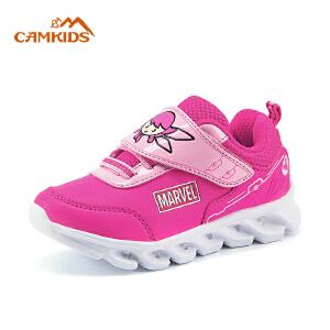 camkids秋季美国队长时尚男童女童运动鞋小童魔术贴闪灯圆头休闲鞋
