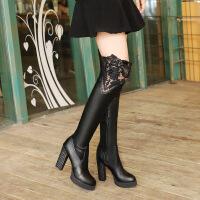 彼艾2017秋冬新款过膝靴女瘦腿超高跟粗跟长靴防水台蕾丝花边女靴长靴子