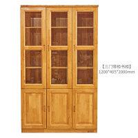 柏木转角书柜实木书架储物柜自由组合带玻璃门书橱柜子现代中式