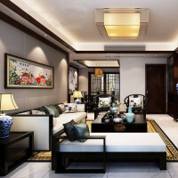新中式沙发组合现代中式简约小户型客厅禅意实木布艺全屋家具定制 颜色可定制