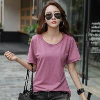 夏季新品竹节棉宽松大码韩版女装上衣t恤衫女士宽松t恤衫