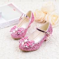 女童皮鞋高跟公主鞋春秋季韩版潮表演舞蹈水晶亮片儿童单鞋女