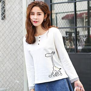 秋冬季新款女装秋装韩版宽松长袖T恤女白色卡通印花开筒上衣服