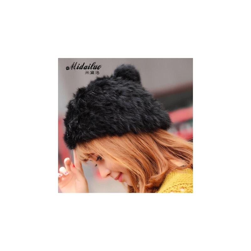 韩版贝雷帽女士帽子冬天时尚毛线帽贵气大毛球兔毛帽子女 品质保证 售后无忧