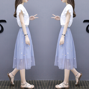 连衣裙女夏2018新款中长款时尚网纱半身裙两件套小清新套装裙子