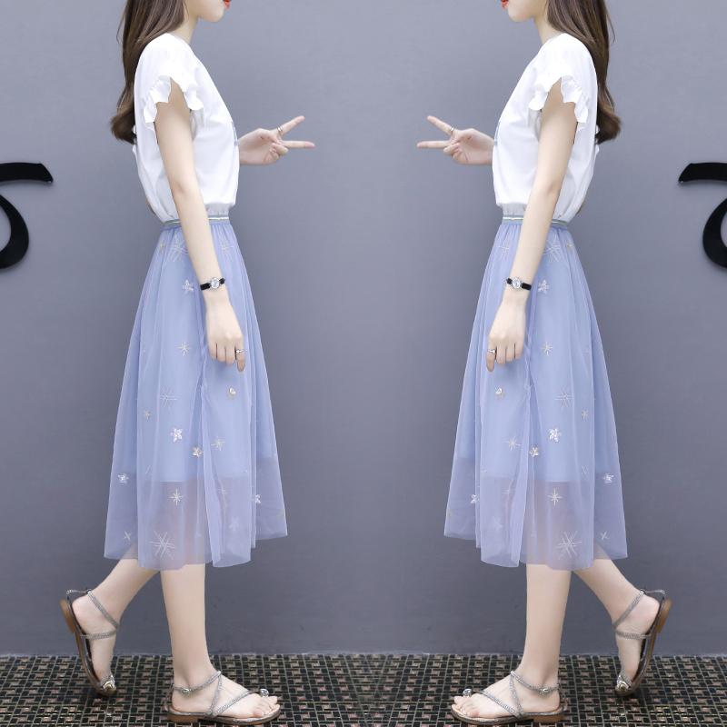 连衣裙女夏2018新款中长款时尚网纱半身裙两件套小清新套装裙子简约版型 百搭不挑人