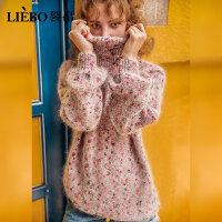 裂帛高领宽松套头毛衣女2018冬季新款螺纹灯笼袖慵懒风长袖针织衫