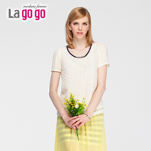 lagogo拉谷谷夏季新款抽象图案淑女时尚上衣