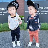 宝宝秋装套装男1-3岁潮婴儿衣服秋季三件套针织马甲套装小童套装