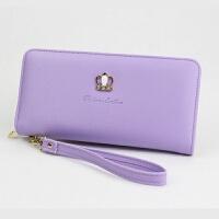 小清新秋女士钱包女式长款日韩版拉链手拿包学生零钱卡包皮夹 紫色 2021#