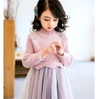 紫色儿童毛衣裙洋气小女孩公主纱裙女童加绒连衣裙礼服秋冬装