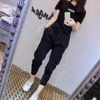 户外休闲运动套装女韩版时尚少女运动服短袖两件套