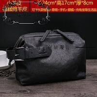 男士手包商务休闲手腕包小羊皮手提包大容量软皮男包