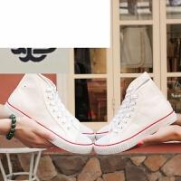 春夏季新款男士白色布鞋韩版高帮情侣帆布系带学生子休闲初高中女生板