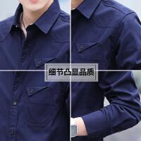 春秋季男士衬衫长袖修身牛仔衬衣韩版休闲帅气短袖寸衫夏装衣服潮