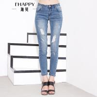 海贝年秋季新款女 潮流个性做旧磨白破洞牛仔长裤