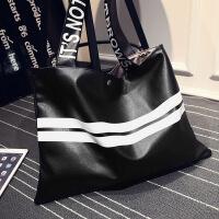 新款欧美女士包包简约OL女包时尚休闲百搭单肩街头气质大包包 黑色