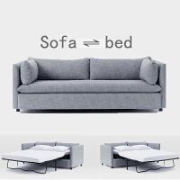 北欧沙发床可叠推拉两用单人双人布艺小户型客厅简约多功能沙发 灰色(三人200CM) 2米以上