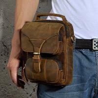 手工男包真皮男士复古手机户外小腰包穿皮带腰包单肩斜跨包