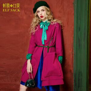 【2件3折】妖精的口袋找到新兴趣冬装双贴袋双面呢大衣宽松毛呢外套女长款