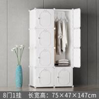 简易衣柜现代简约经济型组装实木塑料布柜子卧室小衣橱推拉门 6门以上