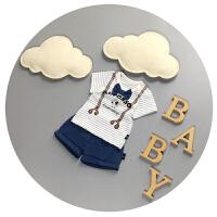 儿童夏装男0-1-2岁婴儿短袖套装纯棉3薄款新生儿半袖分体两件套潮