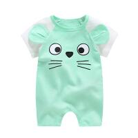 婴儿外出服 宝宝连体衣0-12个月爬服薄款哈衣睡衣 新生儿衣服夏季 平角绿猫