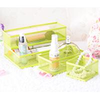 卡秀炫彩铁艺自由组合多用途桌面整理收纳盒四件套--绿色(K3309)