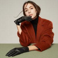 户外运动真皮手套女式保暖羊皮触屏加绒加厚驾驶开车薄款时尚短款