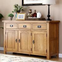 欧式白橡木餐边柜橱柜玄关桌全实木家具角柜储物柜木碗柜