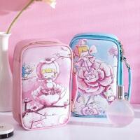 博纳屋韩版女士包中包化妆品收纳包大容量洗漱包 花仙子化妆包可爱大号皮革收纳包粉色