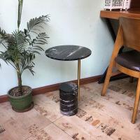 金属小圆桌北欧沙发大理石边角几小茶几设计师简约迷你床头小桌 黑色台面黑色底座 直径35cm 高55cm