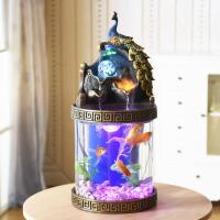 小型客厅装饰创意喷泉桌面家用免换水族箱超白圆形生态造景鱼缸