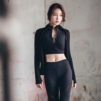 2018春夏新款健身房瑜伽服套装女长袖运动性感健身服三件套女 黑色三件套 S