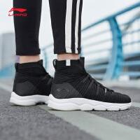 李宁健身鞋女鞋新款透气包裹耐磨防滑综合训练鞋一体织袜子鞋冬季高帮运动鞋AFJN018