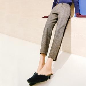 七格格高腰休闲裤女装春季新款韩版潮宽松时尚格纹撞色九分直筒裤