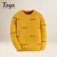 TAGA 春秋款童装男童毛衣纯棉中大童儿童套头圆领针织衫