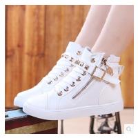 女大童高帮帆布鞋女童白色透气球鞋拉链学生板鞋少女单鞋