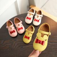 春季儿童单鞋女童皮鞋1-3岁宝宝软底鞋小童蝴蝶结公主鞋2