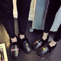 男士防水pu皮拖鞋 室内情侣居家棉拖鞋女 韩版卡通厚底舒适棉鞋子