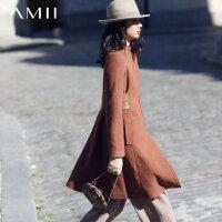 Amii[极简主义]秋冬新修身呢子A型中长款毛呢外套
