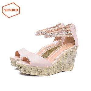 达芙妮旗下鞋柜舒适坡跟扣带时装女凉鞋