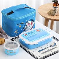 304不锈钢小学生饭盒儿童卡通餐盘保温饭盒分格微波炉可爱便当盒