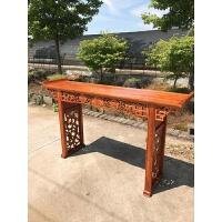 中式仿古家具 榆木雕花佛桌案台 明清家具翘头供桌 1.5米雕花条案 整装