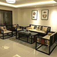 新中式实木沙发样板房客厅布艺沙发组合禅意酒店别墅办公家具定制 其他