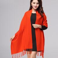 新品韩版女士斜纹薄款纯羊毛围巾披肩两用 加长款