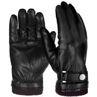 冬季手套男士骑车 加厚保暖滑雪防寒加绒摩托车手套冬天学生棉新品 黑束口双边款 均码